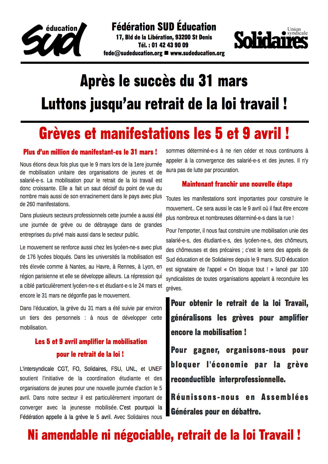 Tract de la fédération syndicale SUD Education